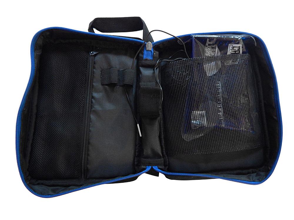 Schwarze Diabetikertasche mit Thermometer - geöffnet