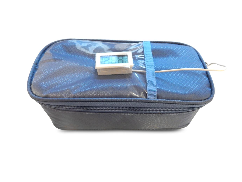 Blaue Diabetikertasche mit externem Thermometer